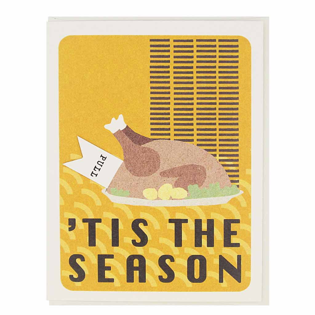 "Pull the tab on this holiday card coming out of the turkey to reveal the words ""get stuffed"". Measures 4¼"" x 5½"", comes with a white envelope & is blank inside."