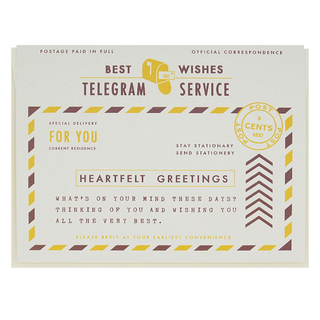 "Let someone know you are thinking of them with this heartfelt card that looks like a vintage telegram. Measures 4¼"" x 5½"", comes with a cream envelope & is blank inside."