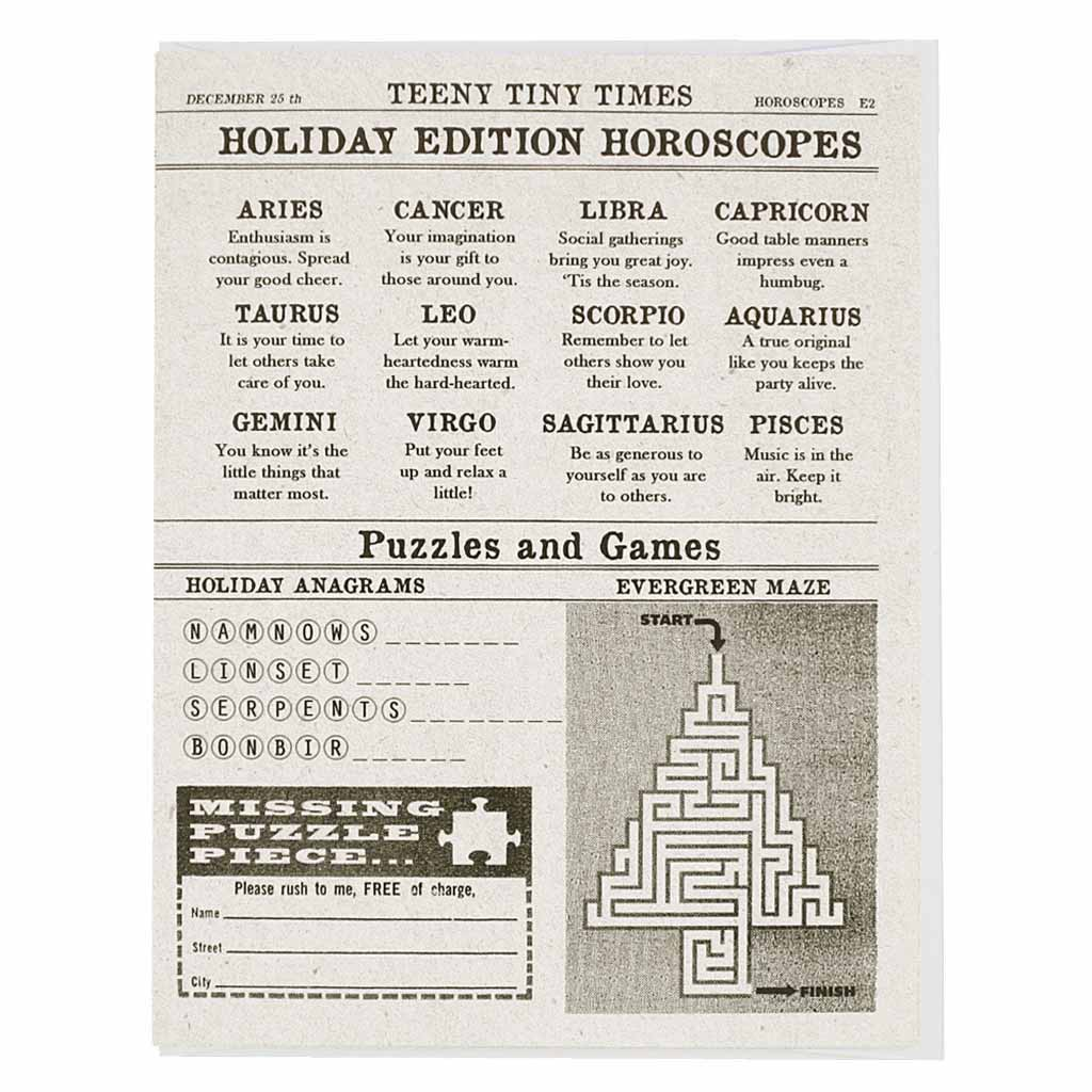 "Horoscopes for the holidays. Card measures 4¼"" x 5½"", comes with a white envelope & is blank inside."