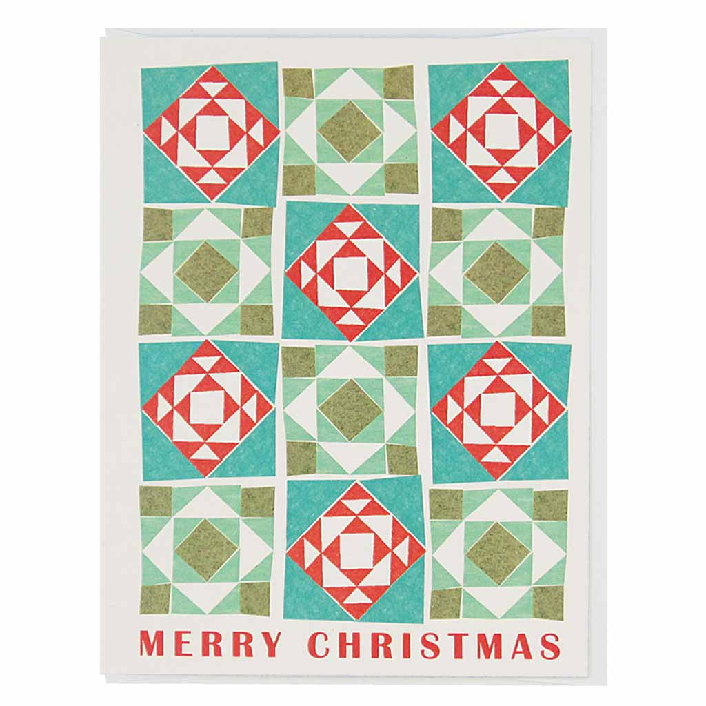 "Enjoy a cozy season with this merry christmas quilt.. Measures 4¼"" x 5½"", comes with a white envelope & is blank inside."