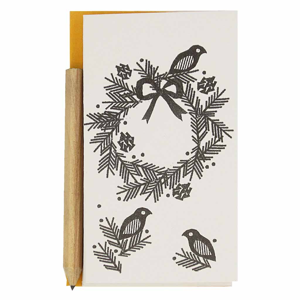 "Each set features a black and white wreath adorned with pine cones and birds. Contains 6 identical mini cards, 6 orange envelopes and 1 mini pencil.  Cards measure 2 ¼"" x 4""."