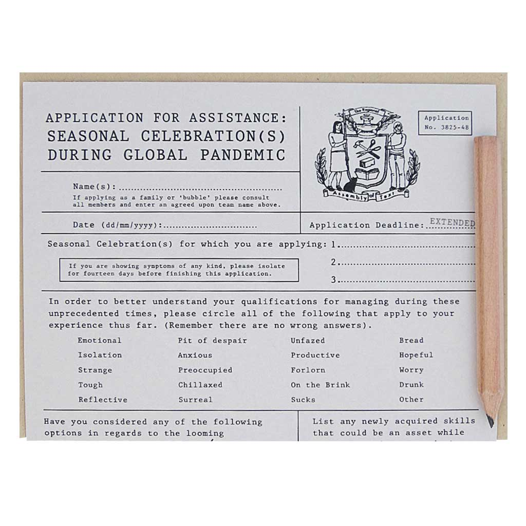 "This is a clever application to apply for assistance over the holidays during the pandemic. Very official indeed. Comes with a mini pencil, a kraft coloured envelope and folds out flat to measure 8 ½"" x 5 ½""."