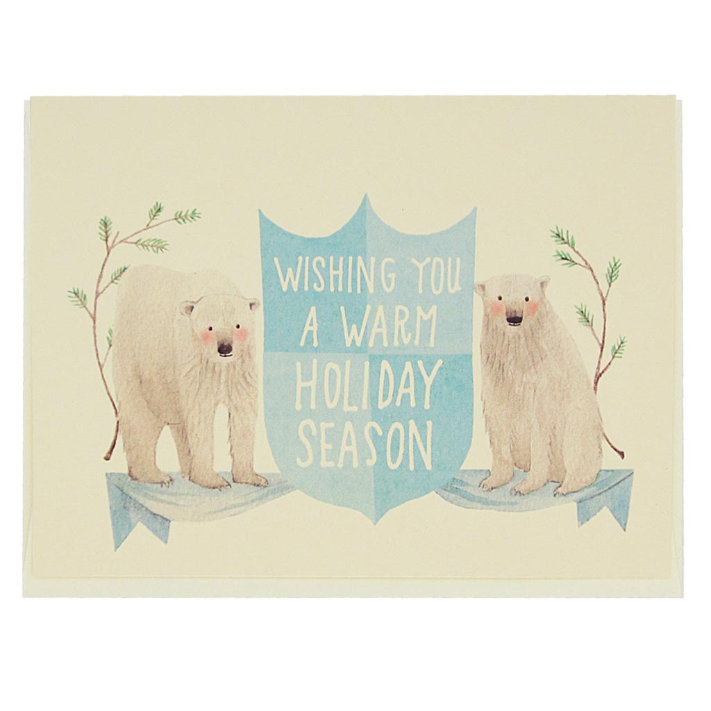 "Some polar bears to help spread the winter wishes. Painted polar bears with the greeting ""wishing you a warm holiday season"".  Card measures 4¼"" x 5½"", comes with a cream envelope & is blank inside."