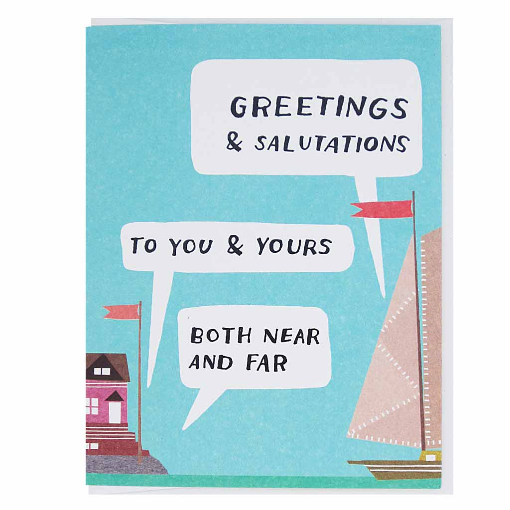 "Salutations to you and yours with this little collage of a boat on the ocean and a house on the shore. Measures 4¼"" x 5½"", comes with a white envelope & is blank inside."
