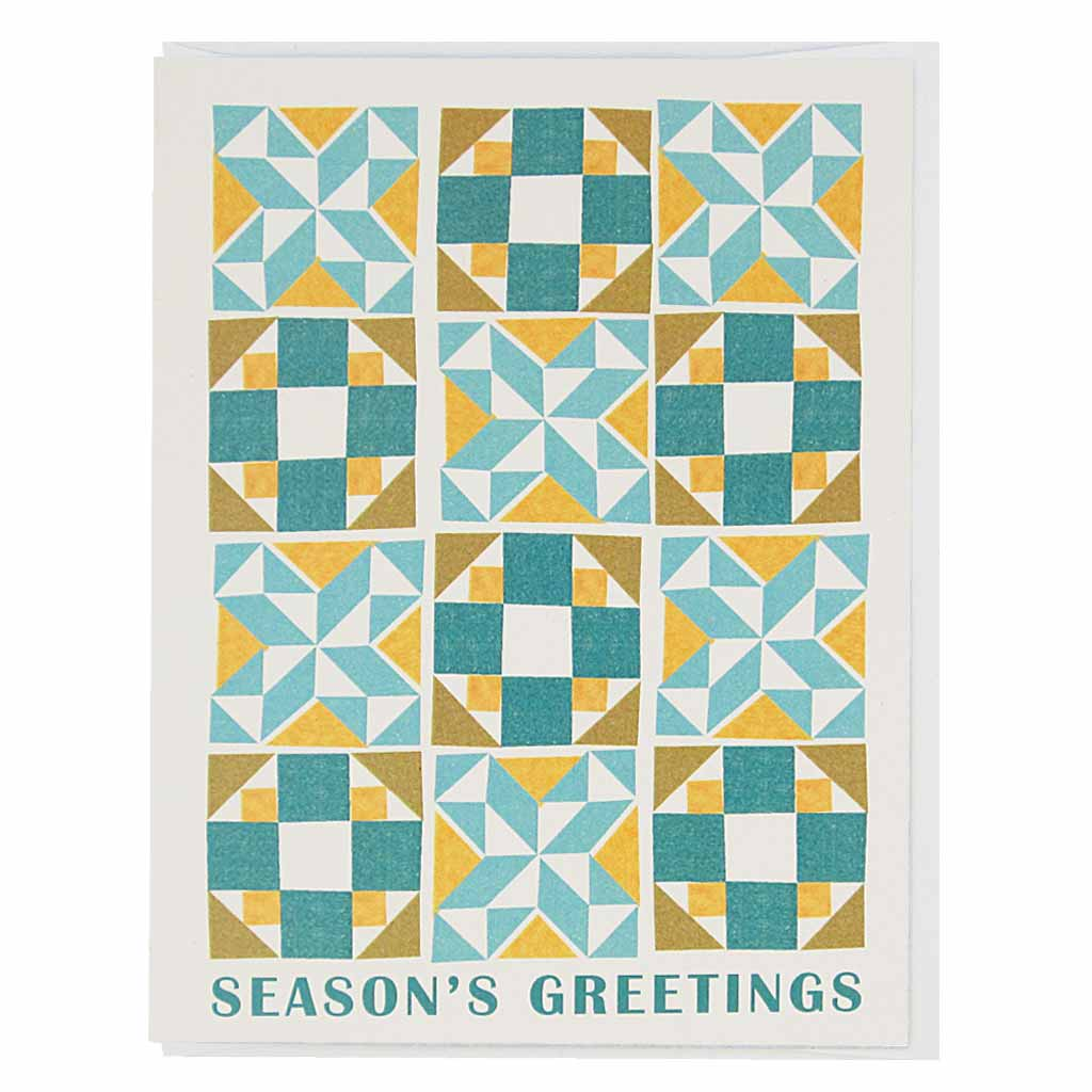 "Enjoy a cozy season with this holiday quilt. Measures 4¼"" x 5½"", comes with a white envelope & is blank inside."