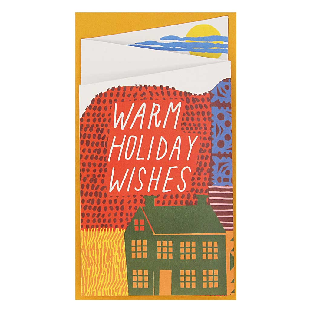 "This sweet little card unfolds into a landscape with space to write a heartfelt message. Measures 3"" x 5½"" and comes with an orange envelope."