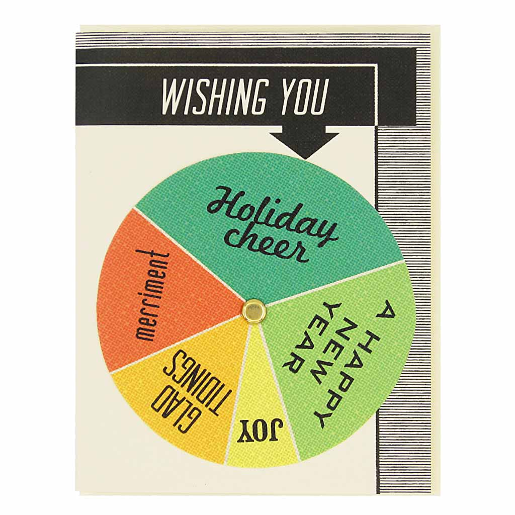 "Turn the wheel to find the appropriate holiday exclamation. Card measures 4¼"" x 5½"", comes with a cream envelope & is blank inside."