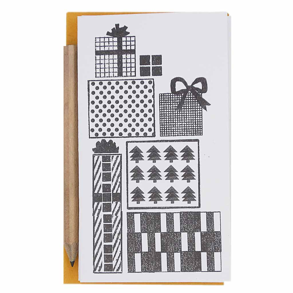 "Each set contains 6 identical mini cards with black and white presents, 6 orange envelopes and 1 mini pencil.  Cards measure 2 ¼"" x 4""."