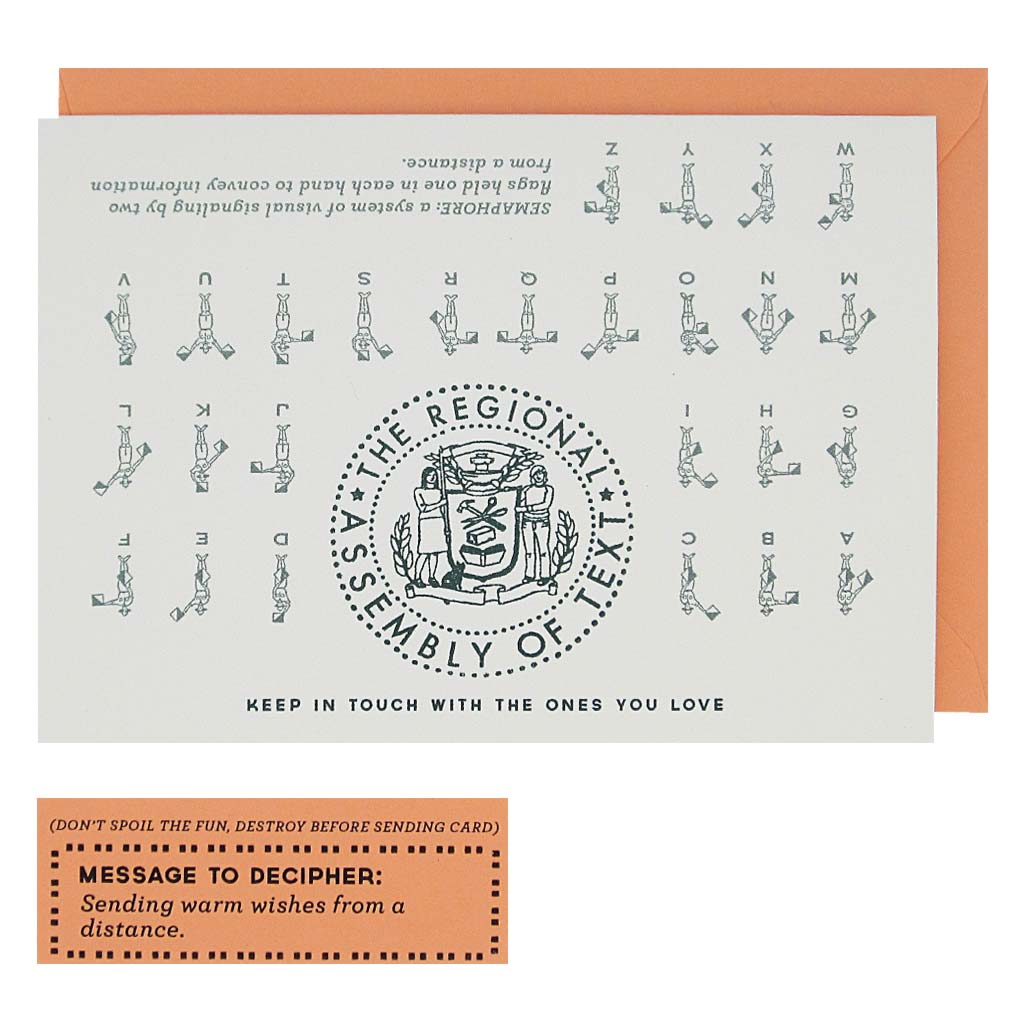 "Decipher this cute semaphore message on the front of the card using the guide on the back. Message reads ""Sending warm wishes from a distance"". This boxed set contains 10 identical cards (blank inside) & 10 coral envelopes. Cards measure 3½""x 5""."