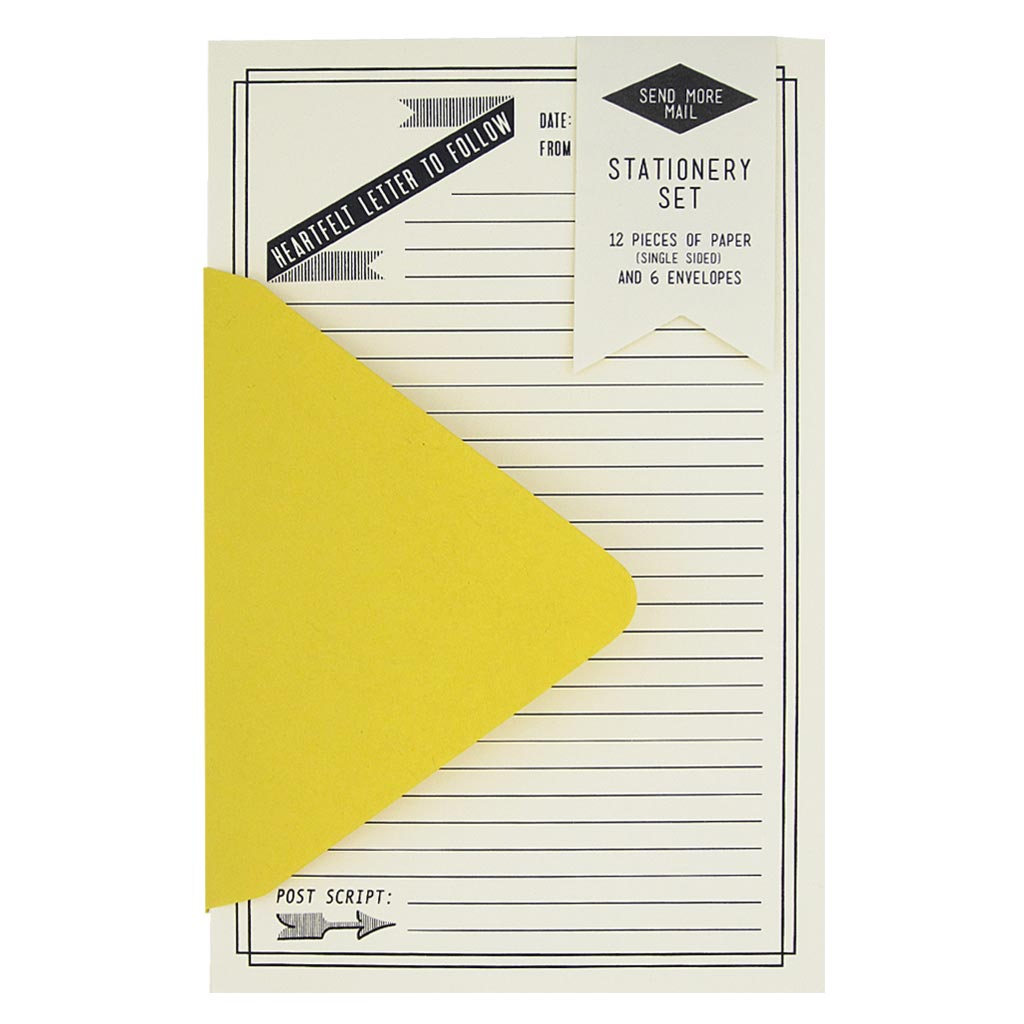"This stationery set comes with 12 identical soft white, single sided lined pieces of paper and 6 curry yellow envelopes. Paper folds in half to fit inside the 4 ¼"" x 5 ½"" envelopes."