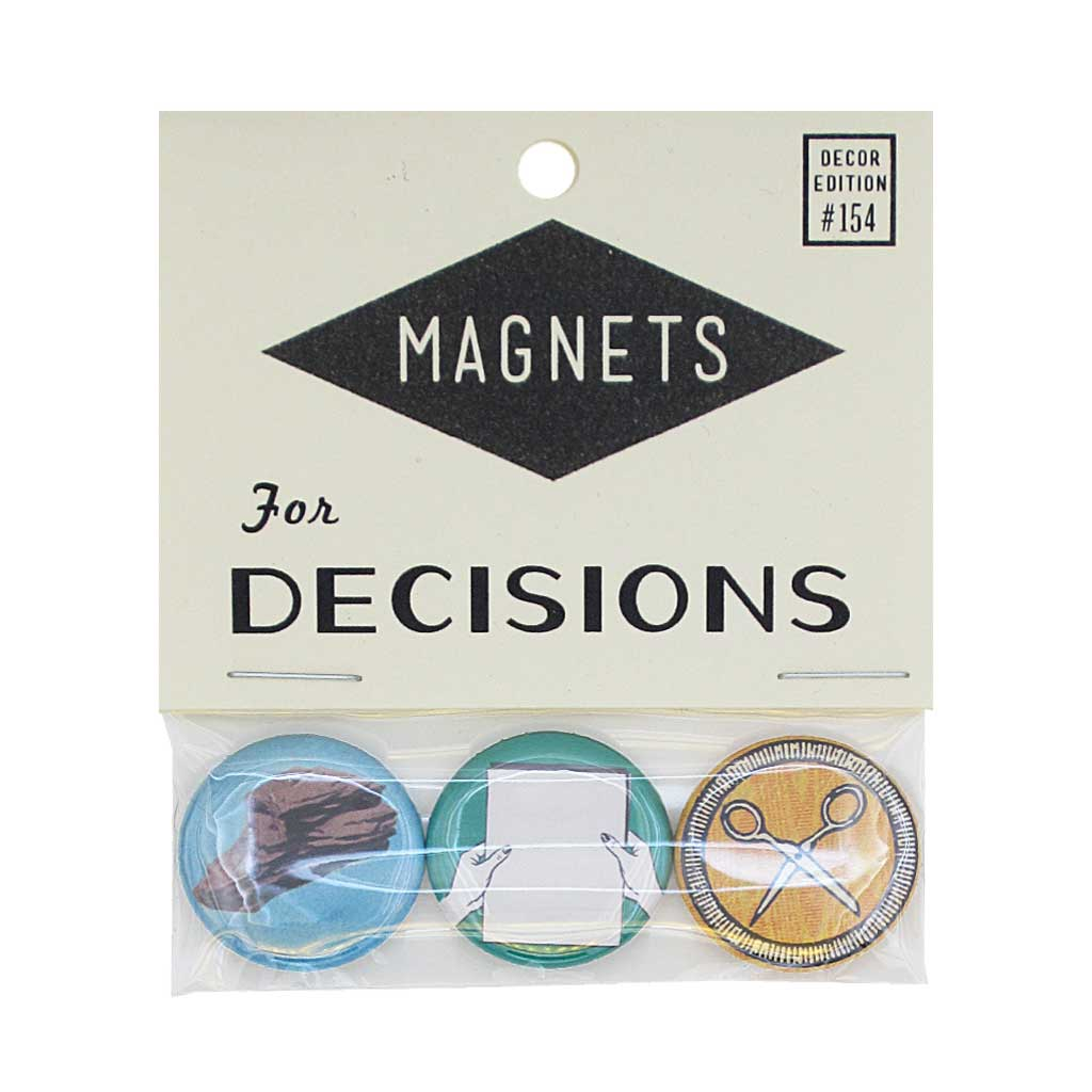 "Make some decisions with this pack of three 1"" magnets. Features, Rock, Paper, Scissors. Pack measures 3"" x 3½""."