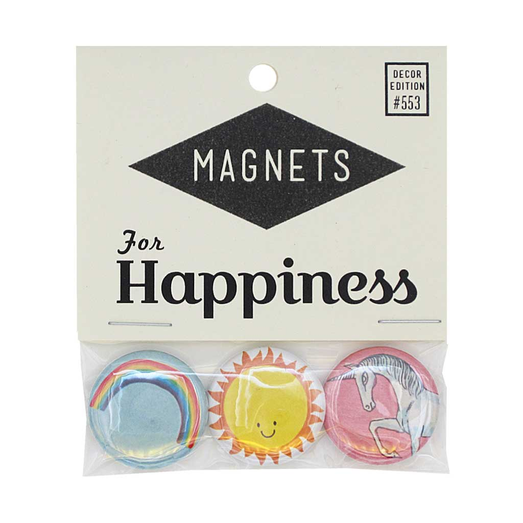 "Spread some cheer with this pack of three 1"" magnets featuring a rainbow, a sun and a unicorn. Pack measures 3"" x 3½""."