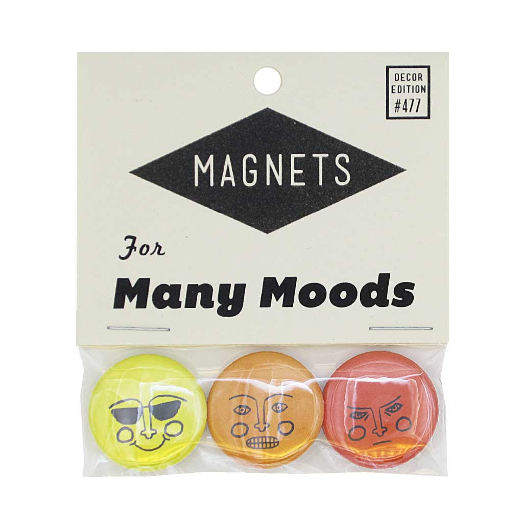 "Choose your mood for the day with this pack of three 1"" magnets depicting faces with different emotions.. Pack measures 3"" x 3½""."