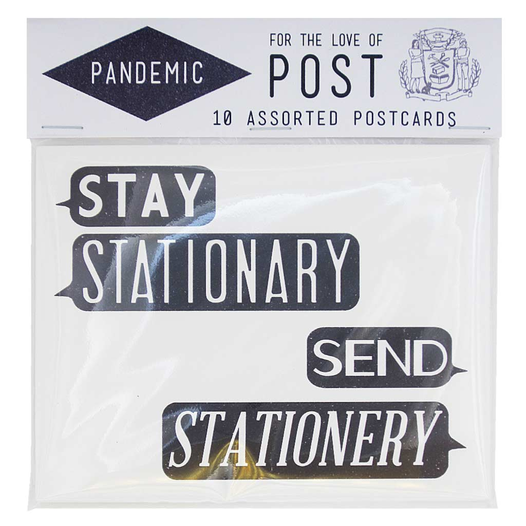"Postcards for the pandemic. Stay Stationary, Send Stationery. Contains 10 postcards, 2 of each design. Postcards measure 4 ¼"" x 5 ½""."