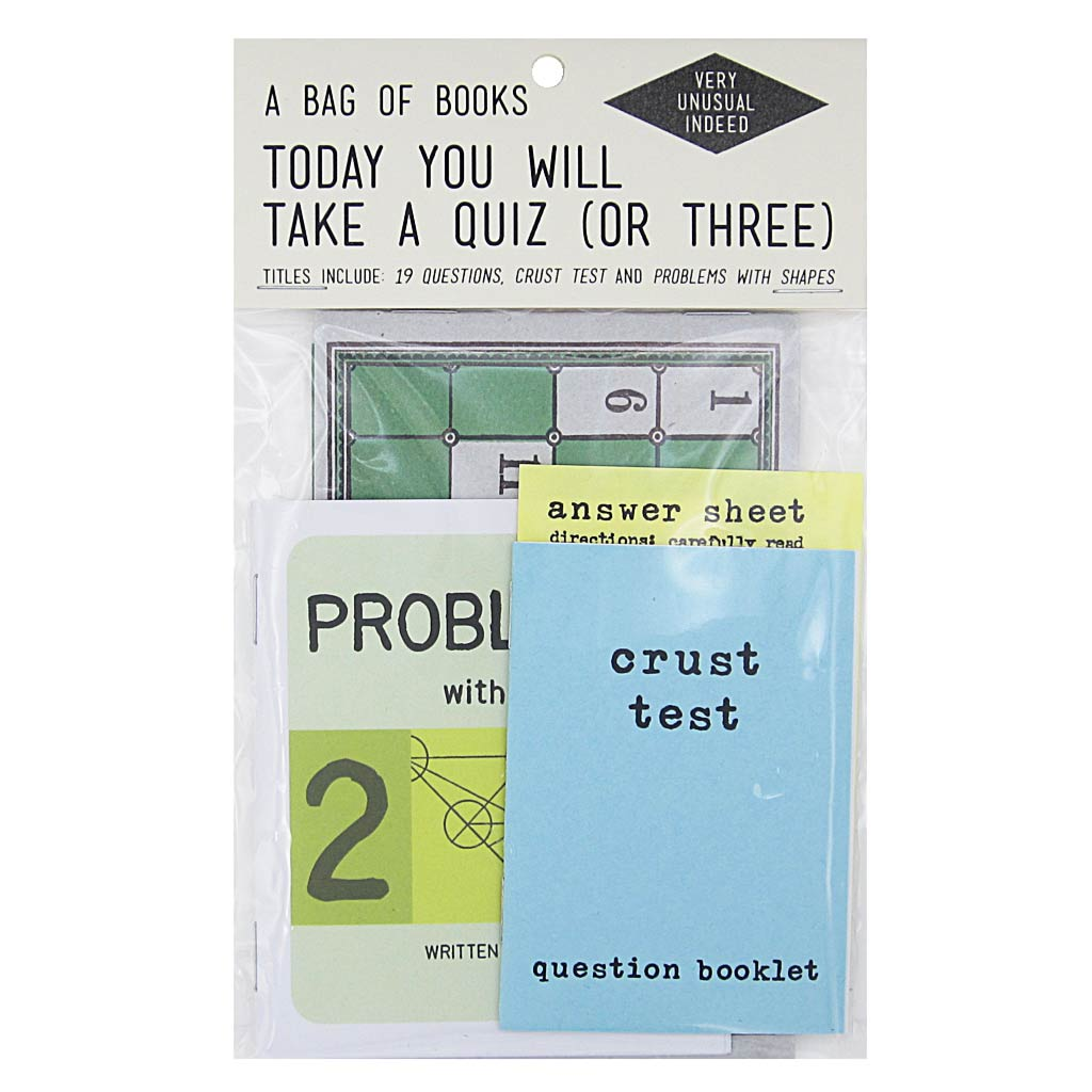 Time to use that brain and solve some puzzles. Contains 3 assorted books by artists Rebecca Dolen & Brandy Fedoruk. Titles include: 19 Questions, Problems with Shapes, and Crust Test.  By Rebecca Dolen & Brandy Fedoruk.