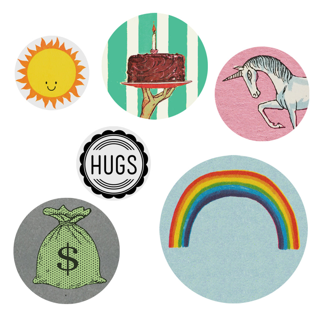 "Spread some well deserved cheer to those in need. Designed to wear & share, this pack of buttons contains 6 buttons with images of rainbows, unicorns, bags of money, hugs, cake and sunshine Buttons varying in sizes. Measures approximately 3"" x 6½""."