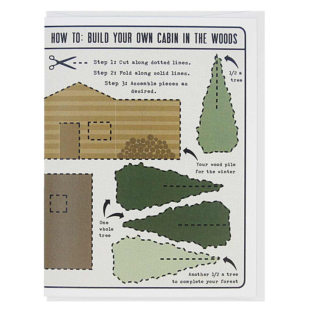 "This greeting card is an activity card, which is lovely as is, but which can also be cut up and made into a delightful 3-D cabin in the woods. The text reads, 'How to: Build Your Own Cabin in the Woods'. Dotted lines are around each item and it features the cabin and some trees for your forest. Card measures 4¼"" x 5½"", comes with a white envelope & is blank inside. Designed by The Regional Assembly of Text."