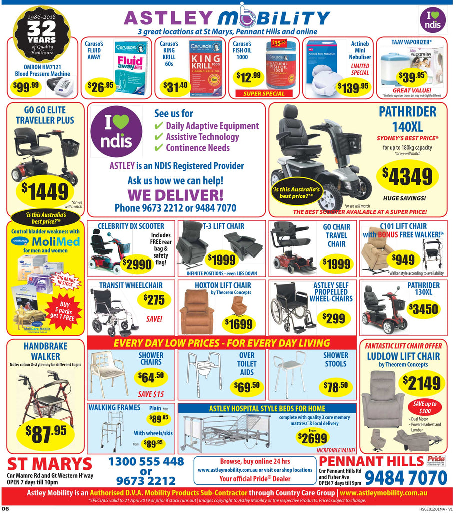 Astley Mobility ANZAC Day Specials display advertisement for April 2019