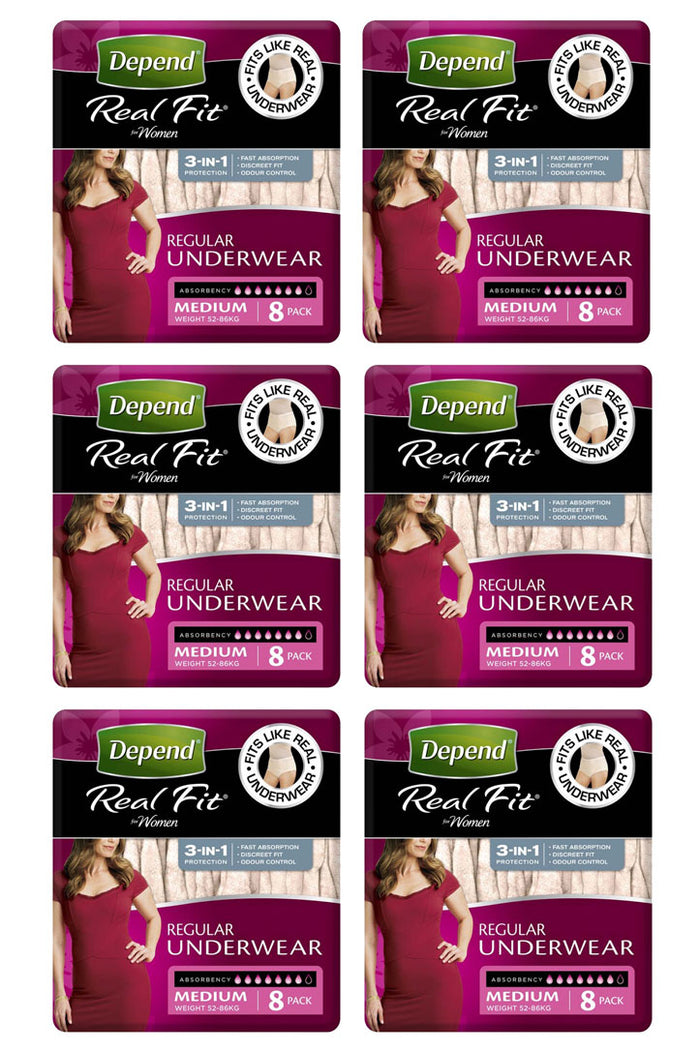 Depend® Real-Fit Underwear Regular for Women (8 pack | Bulk Buy $10.41 x 6)
