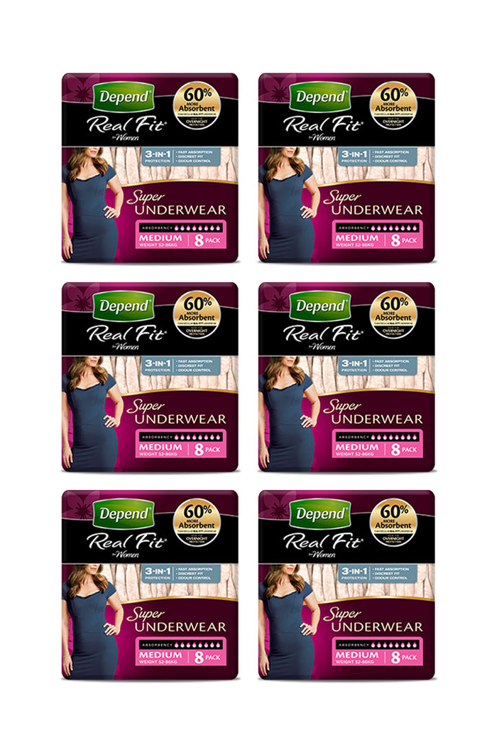 Depend® Real-Fit Underwear Super for Women (8 pack | Bulk Buy $14.16 x 6)