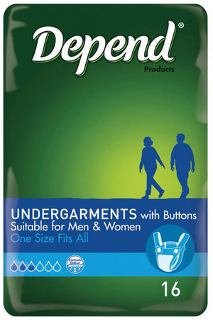 Depend® Undergarments with Buttons for Men & Women - One size (16 pack | Bulk Buy $10.41 x 6)