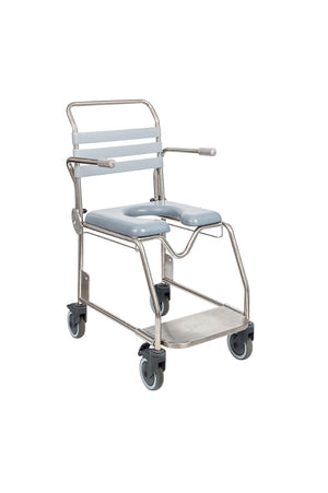 Juvo Mobile Commode/Shower Chair with Sliding Footplate (175kg)