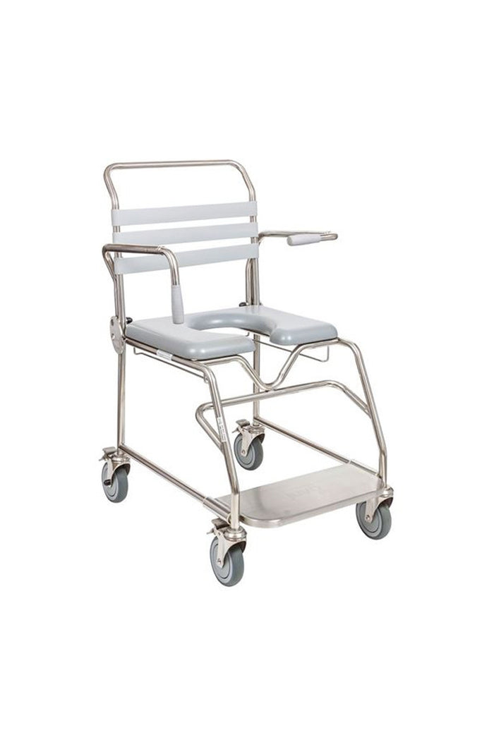 Juvo Mobile Commode/Shower Chair with Sliding Footplate (200kg)