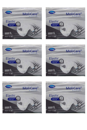 MoliCare Premium Slip (Elastic) 10 drops (14 pack | Bulk Buy $24.99 x 6) - Medium, Large, or Extra Large