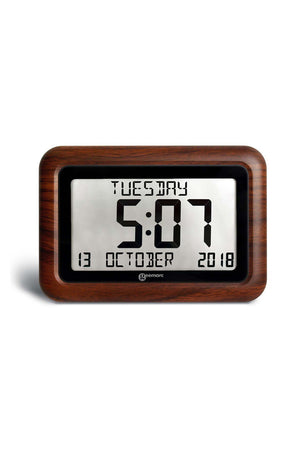 Digital Clock With 8″ LCD Display (Woodgrain Finish)