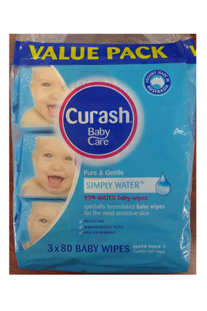 Curash Baby Wipes Simply Water (3x 80pk)