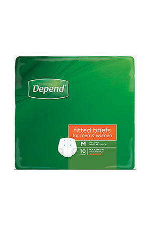 Depend® Fitted Briefs for Men & Women - Medium (10 pack)