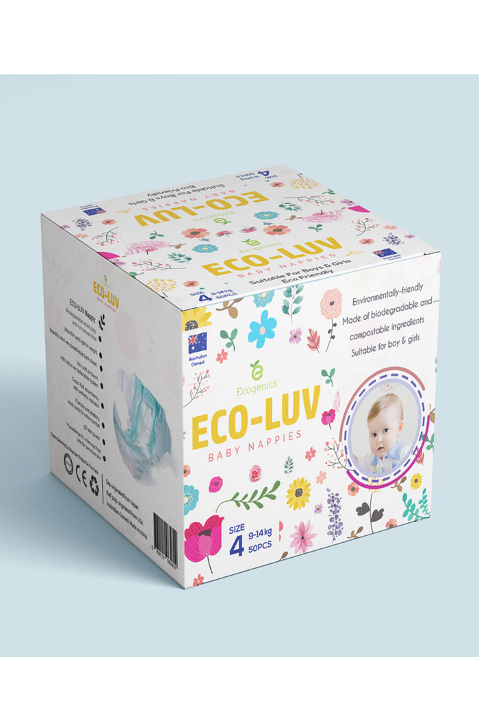 Eco-Luv Nappies Size 4 (9-14kg) Boy or Girl (50pk) - Biodegradable