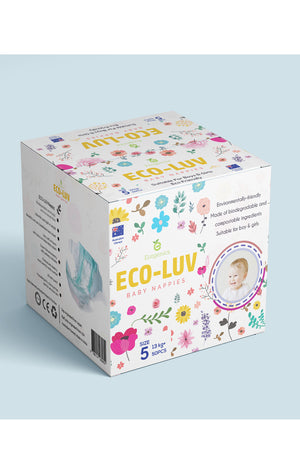 Eco-Luv Nappies Size 5 (12-17kg) Boy or Girl (50pk) - Biodegradable