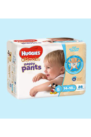 Huggies Ultimate Nappy Pants Size 5 Walker (14-18kg) Boy (28pk)