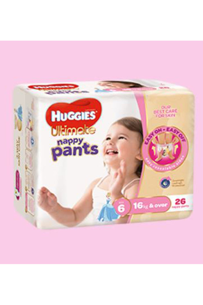 Huggies Ultimate Nappy Pants Size 6 Junior (16kg+) Girl (26pk)