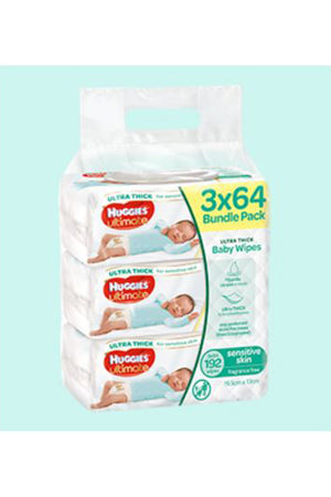 Huggies Ultimate Baby Wipes (64pk x 3)