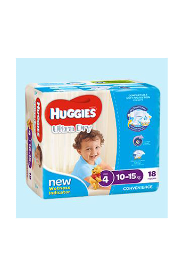 Huggies Ultra Dry Nappies Size 4 Toddler (10-15kg) Boy (18pk)