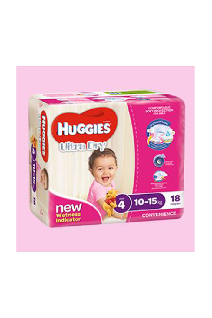 Huggies Ultra Dry Nappies Size 4 Toddler (10-15kg) Girl (18pk)
