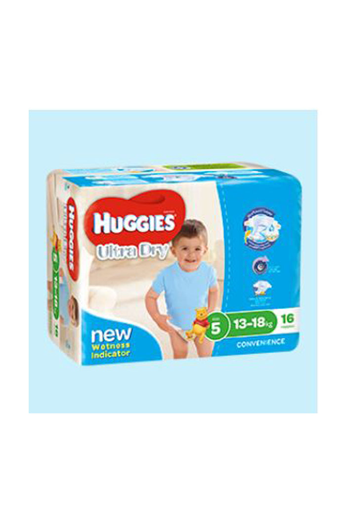 Huggies Ultra Dry Nappies Size 5 Walker (13-18kg) Boy (16pk)