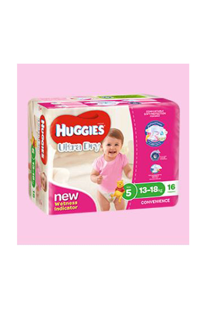 Huggies Ultra Dry Nappies Size 5 Walker (13-18kg) Girl (16pk)