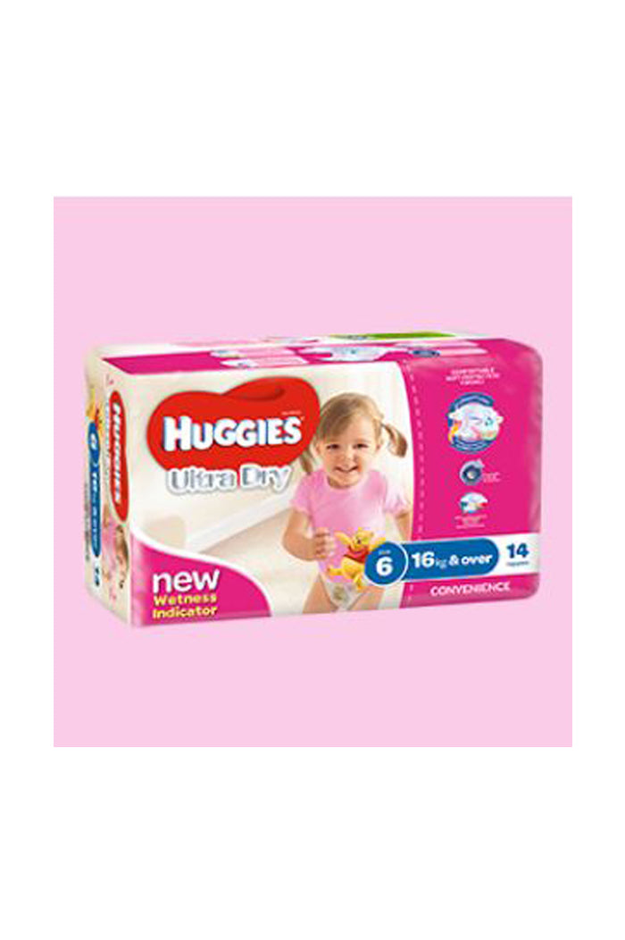Huggies Ultra Dry Nappies Size 6 Junior (16kg+) Girl (14pk)