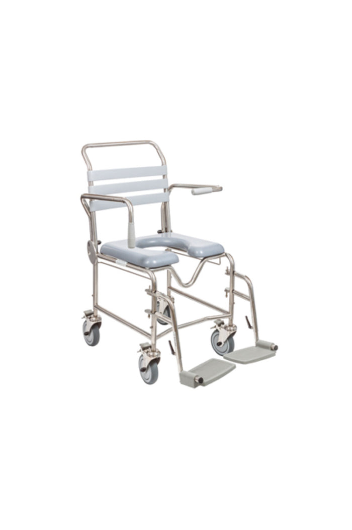 Juvo Mobile Commode/Shower Chair with Swing-away Footrests (200kg)