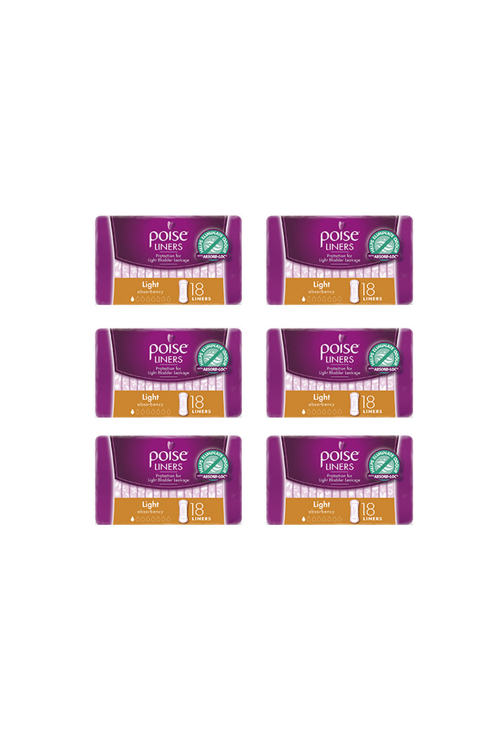 Poise® Light Liners (18 Pack | Bulk Buy $2.41 x 6)