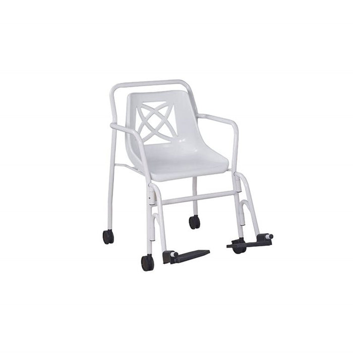 Shower Chair, Fixed Height, Wheels, Arms & Hangers 113Kg