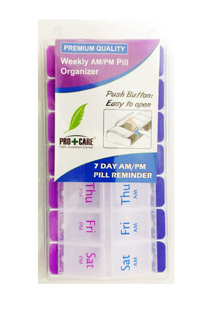 Weekly AM/PM Pill Organizer (2 Sections Per Day x 7 Days) Push Button Open
