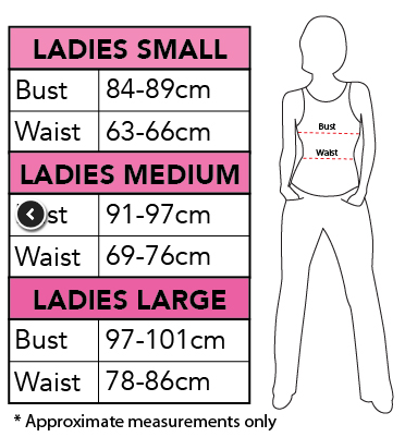 Rubies Ladies Size Chart