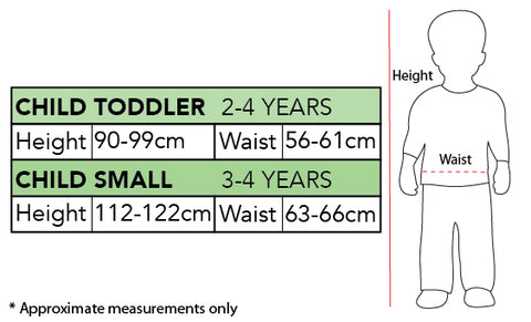 Rubies Size Chart Toddler and Small Child