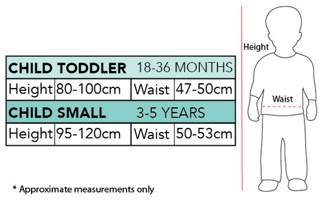 Simon The Wiggles Red Children's Costume size chart
