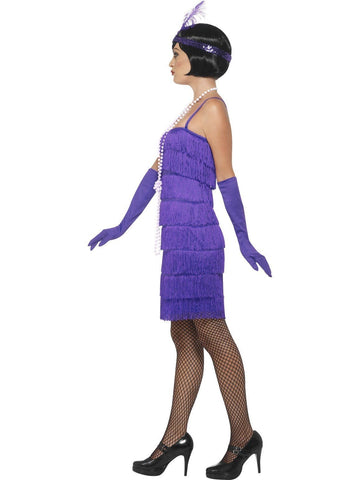 1920's Shorter Purple Fringed Flapper Adult Costume For Sale side