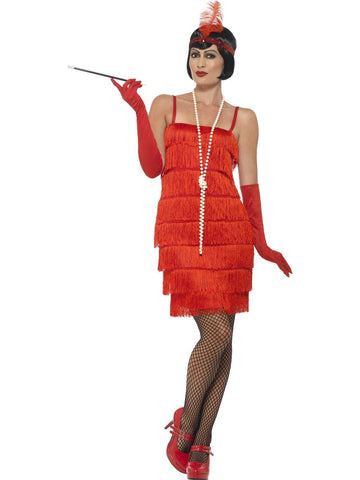 1920's Shorter Red Fringed Flapper Adult Costume For Sale